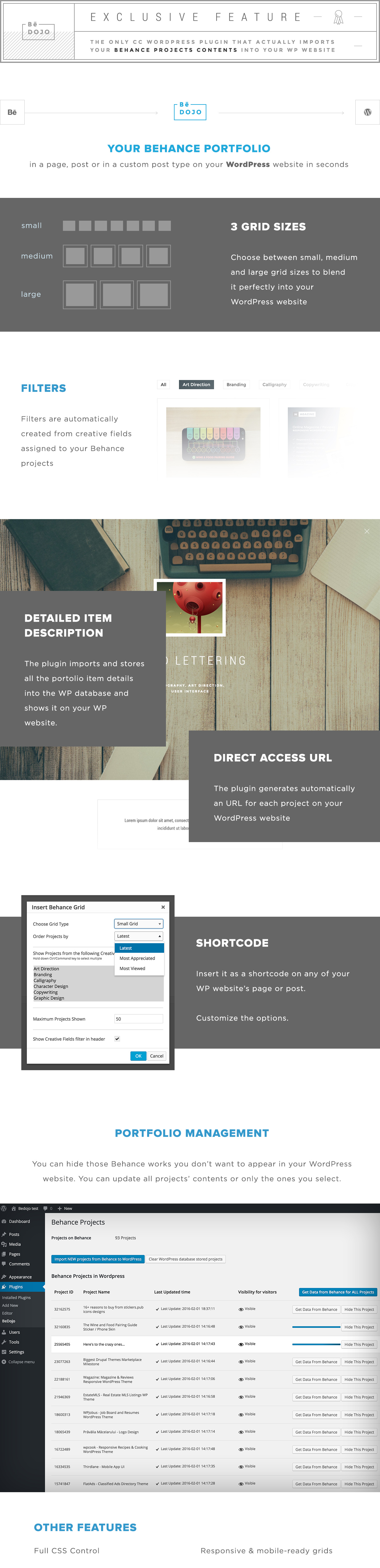 BeDojo - Behance Works WordPress Portfolio Plugin