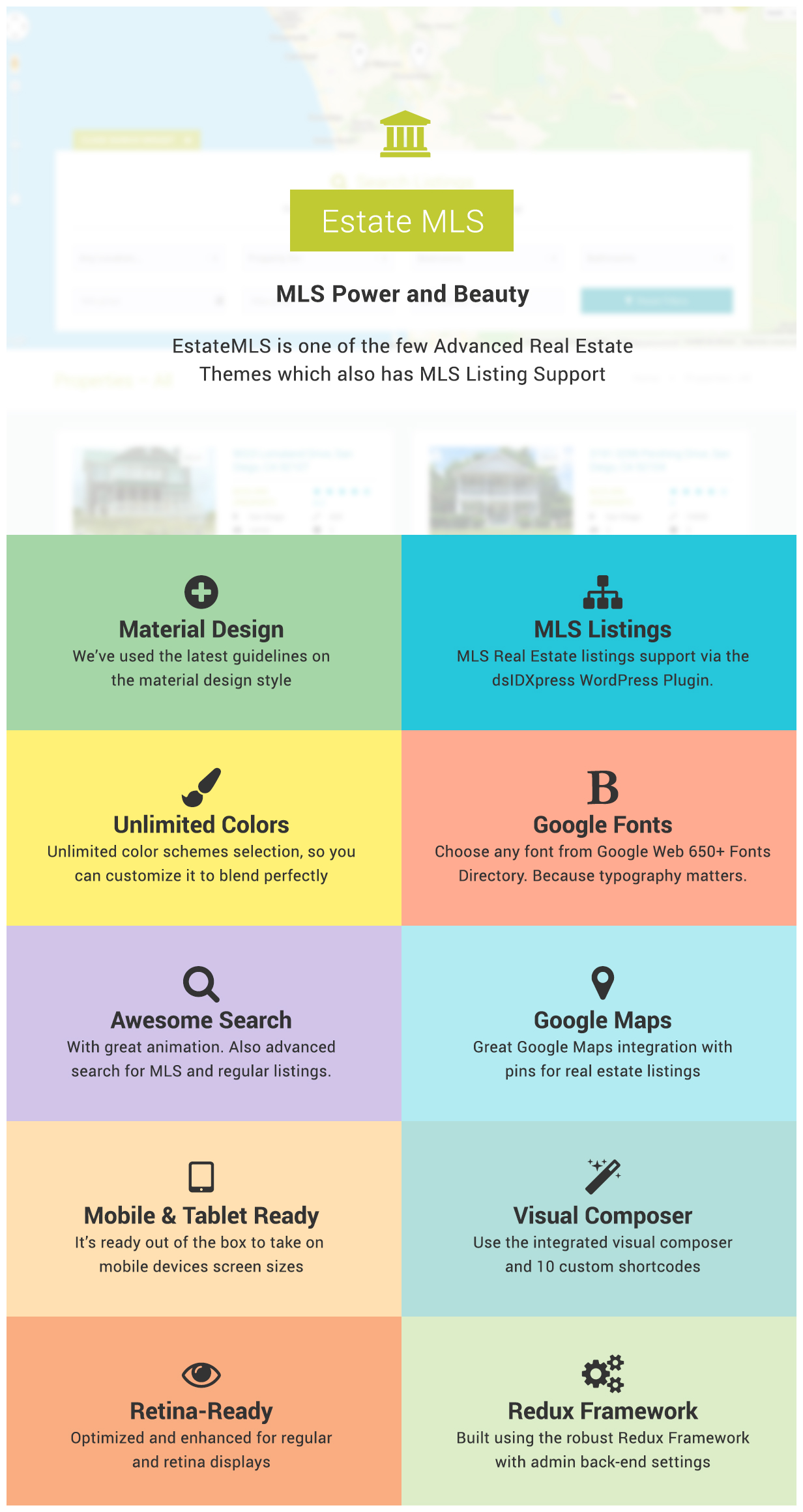 EstateMLS - Material Design Real Estate MLS Theme